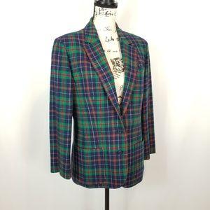 Vintage Pendleton Green Red Blue Plaid Jacket 10